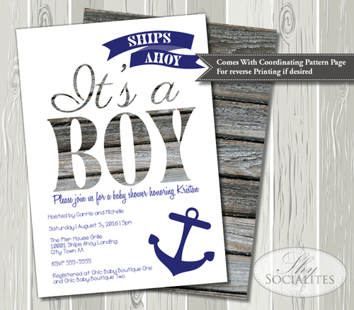 ships ahoy it's a boy nautical baby shower invitation — shy socialites, Baby shower invitations