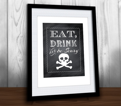 Halloween Wall Art eat, drink & be scary chalkboard halloween ~ party sign wall art