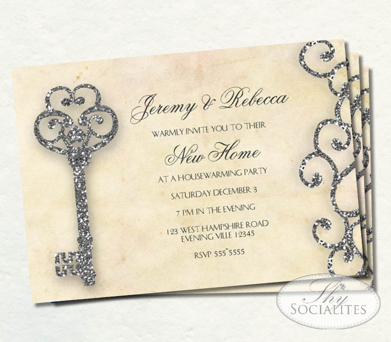Vintage glitter skeleton key invitation shy socialites stopboris Choice Image