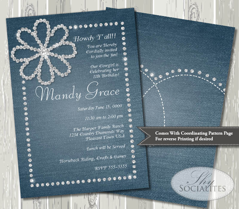 Diamonds Denim Rhinestone Invitation Shy Socialites