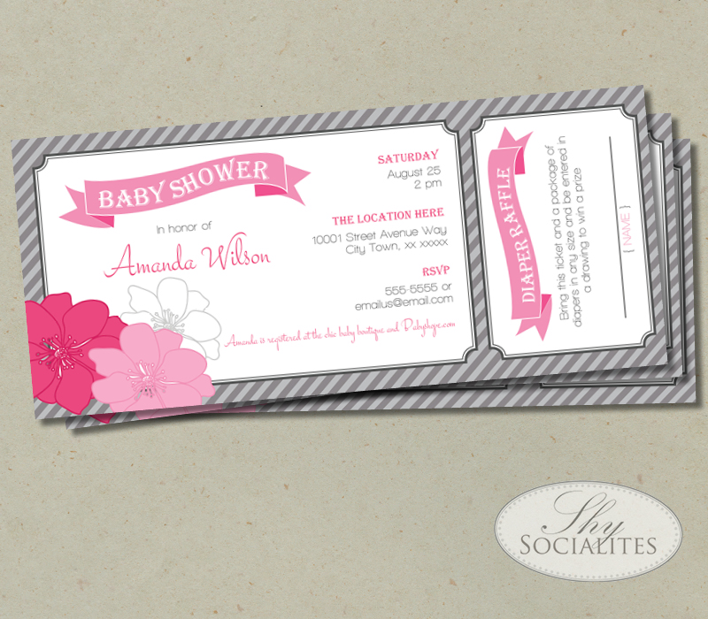 greypinkfloral+web?format=500w pink & grey diaper raffle ticket baby shower invitation shy,How To Word A Diaper Raffle On The Invitation