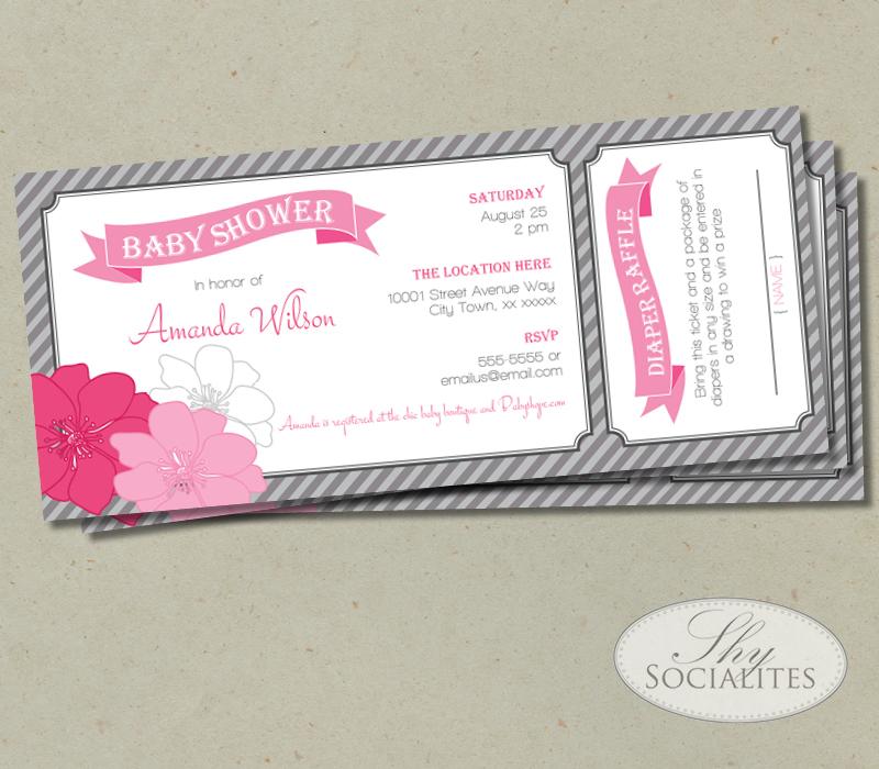 Pink U0026 Grey Diaper Raffle Ticket Baby Shower Invitation