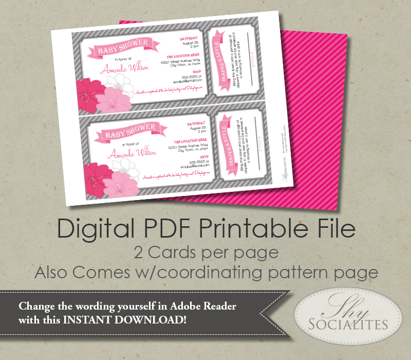 web_b3?format=500w pink & grey diaper raffle ticket baby shower invitation shy,How To Word A Diaper Raffle On The Invitation