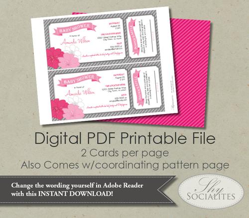 pink grey diaper raffle ticket baby shower invitation shy socialites
