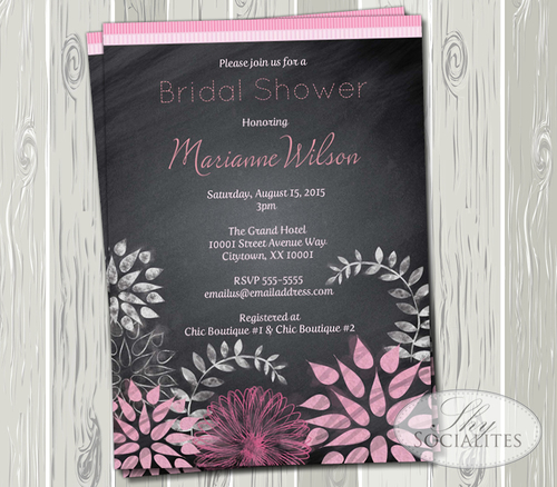 Chalkboard pink flowers bridal shower invitation shy socialites chalkboard pink flowers bridal shower invitation filmwisefo