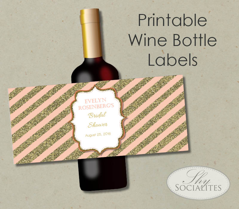 image about Printable Wine Label named Blush Gold Printable Wine Bottle Label Shy Socialites