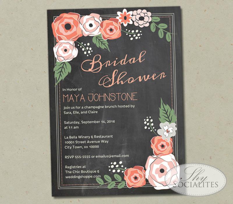Coral Flowers Chalkboard Bridal Shower Invitation Shy Socialites