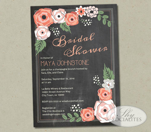 coral flowers chalkboard bridal shower invitation
