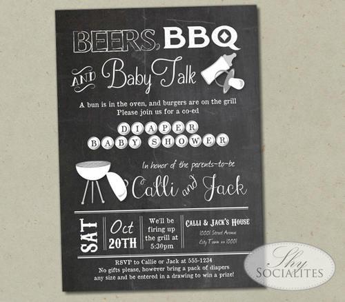 Beers bbq baby talk chalkboard baby shower invitation shy beers bbq baby talk chalkboard baby shower invitation filmwisefo