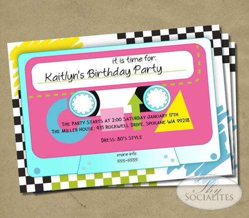 Retro Cassette Tape Invitation Shy Socialites