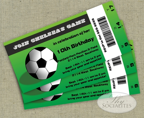 Soccer Game Ticket Invitation  Shy Socialites