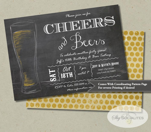 Cheers  Beers Chalkboard Invitation  Shy Socialites