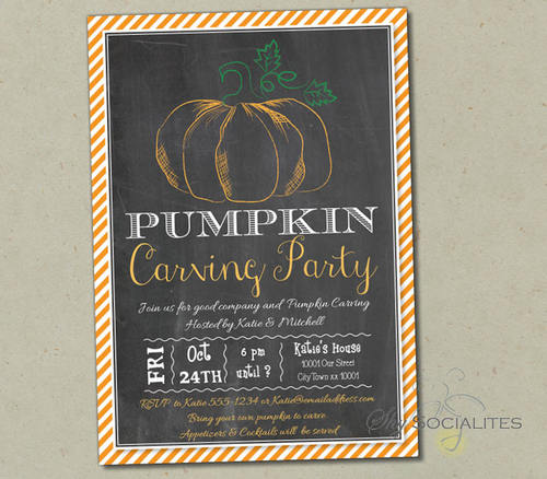pumpkin carving chalkboard invitation shy socialites