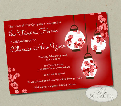 red chinese lanterns invitation