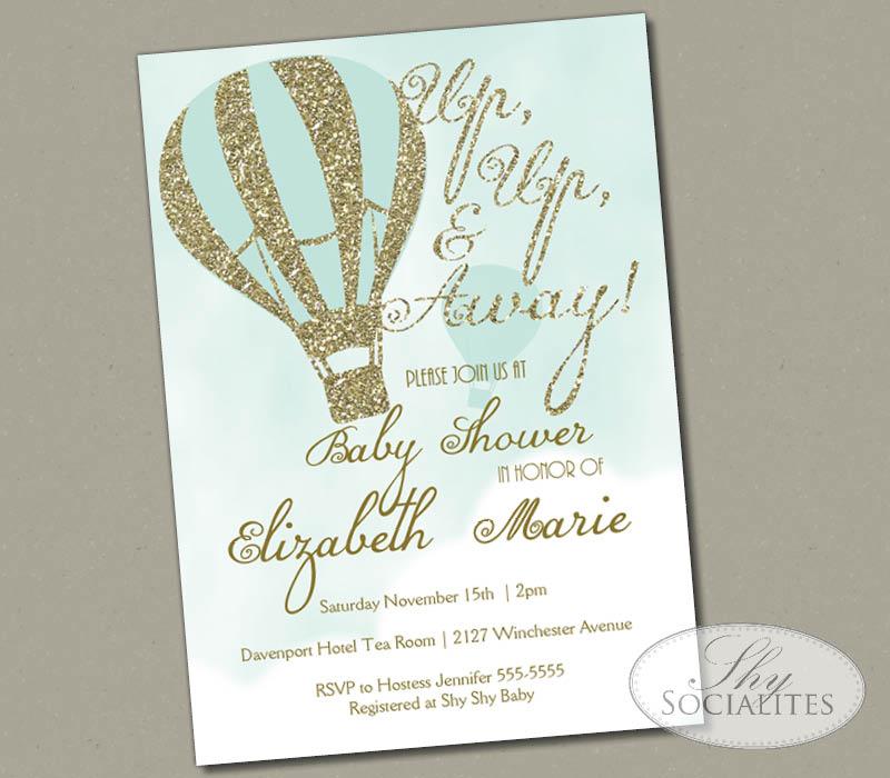 Glitter Hot Air Balloon Invitation Shy Socialites