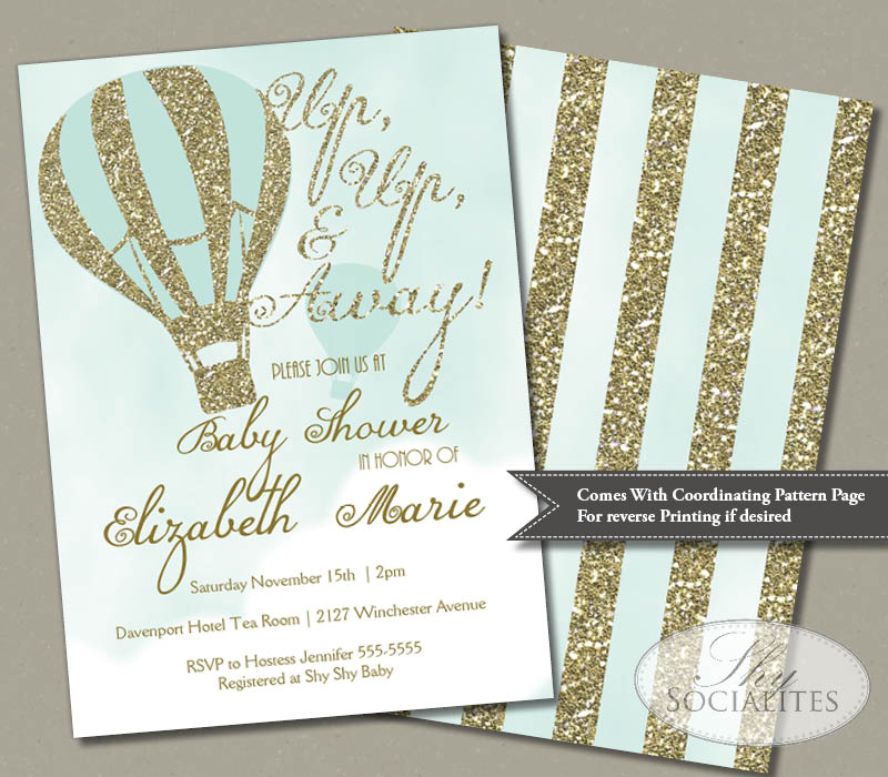 Glitter Hot Air Balloon Invitation Shy Socialites