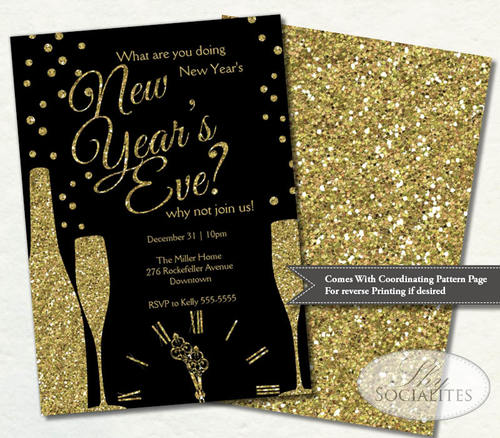 black gold glitter champagne new years party invitation