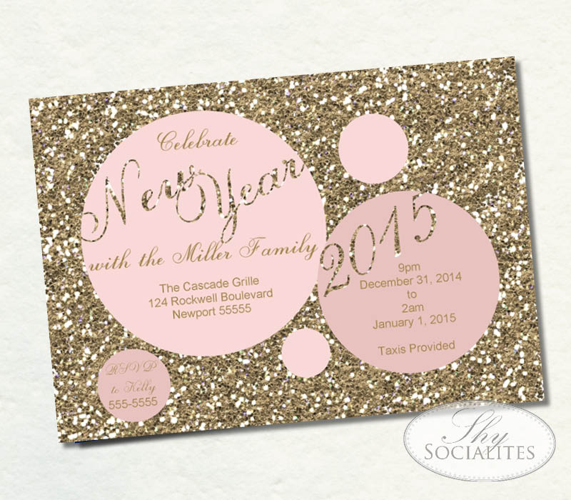 Pink Blush Gold Glitter New Years Dots Invitation Shy Socialites