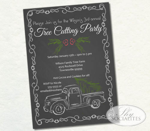 Chalkboard Tree Trimming Party Invitation Shy Socialites – Tree Trimming Party Invitation