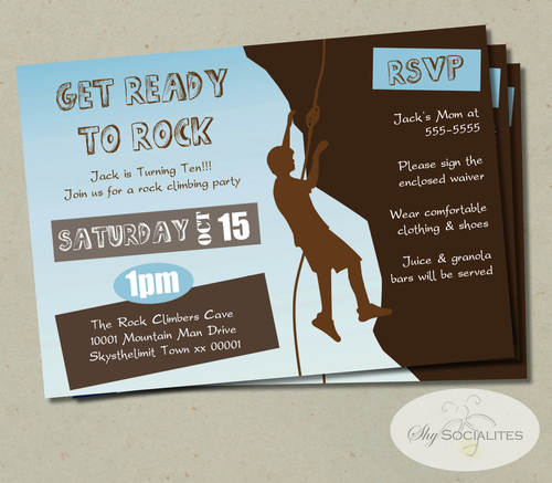 Rock Climbing Party Invitation Shy Socialites