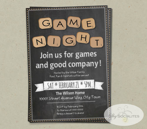 Chalkboard Word Scramble Game Night Invitation Shy Socialites