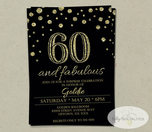 60 and fabulous gold glitter invitation shy socialites