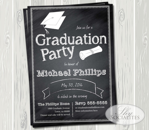 chalkboard graduation party invitation shy socialites