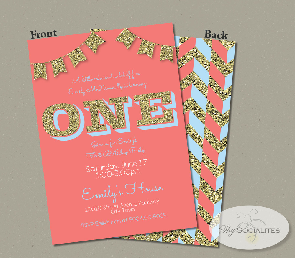Coral Turquoise Gold Glitter First Birthday Invitation Shy