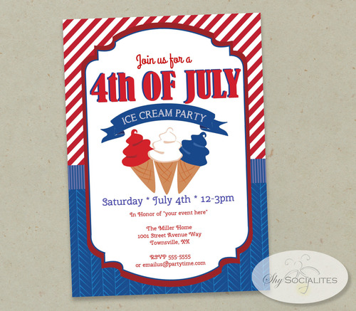 4th of july ice cream party invitation shy socialites
