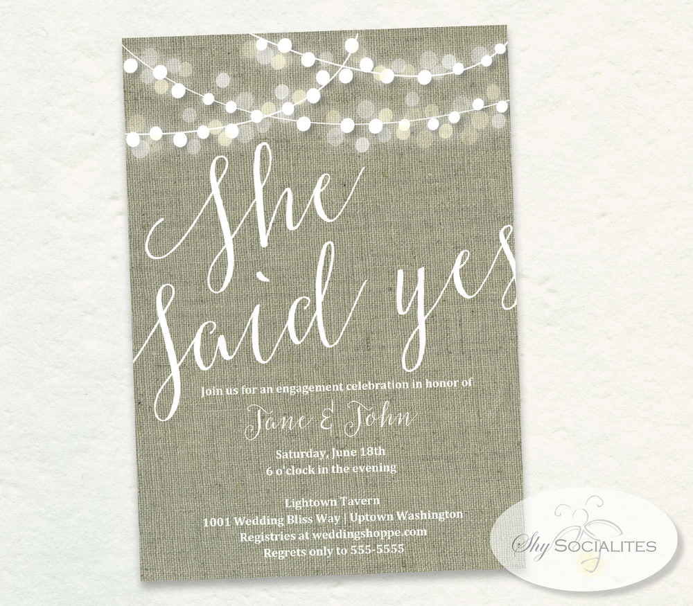 She Said Yes Burlap White Lights Bridal Shower Invitation Shy