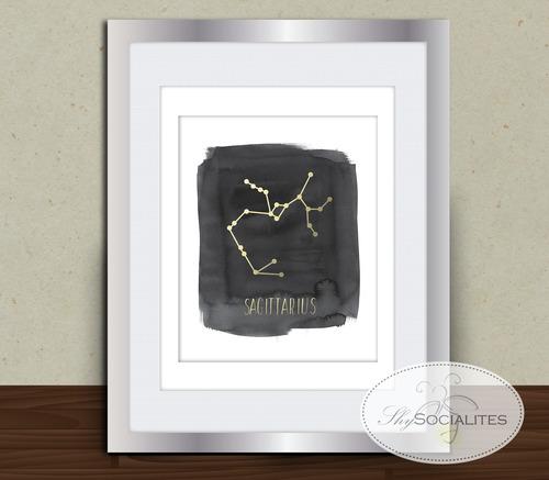 Sagittarius Zodiac Constellation Wall Art — Shy Socialites