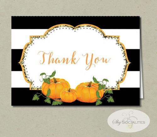 Pumpkin Thank You Cards Shy Socialites