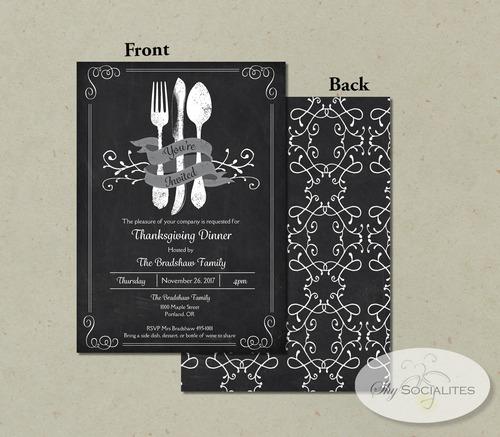 Vintage Cutlery Chalkboard Invitation Shy Socialites – Chalkboard Invitation