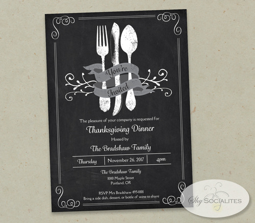Vintage Cutlery Chalkboard Invitation  Shy Socialites