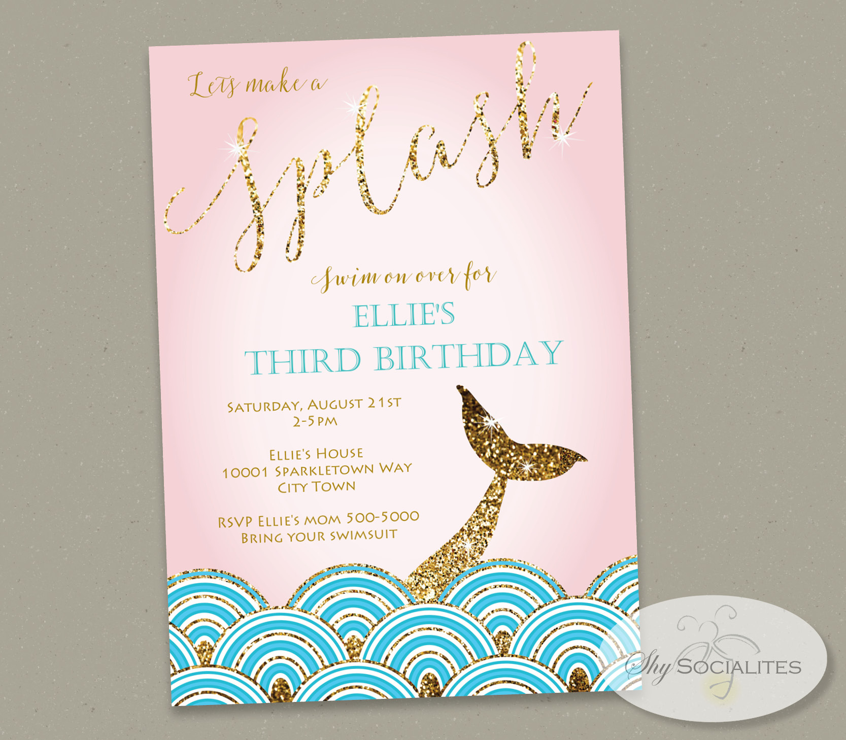Gold Glitter Mermaid Tail Invitation Shy Socialites