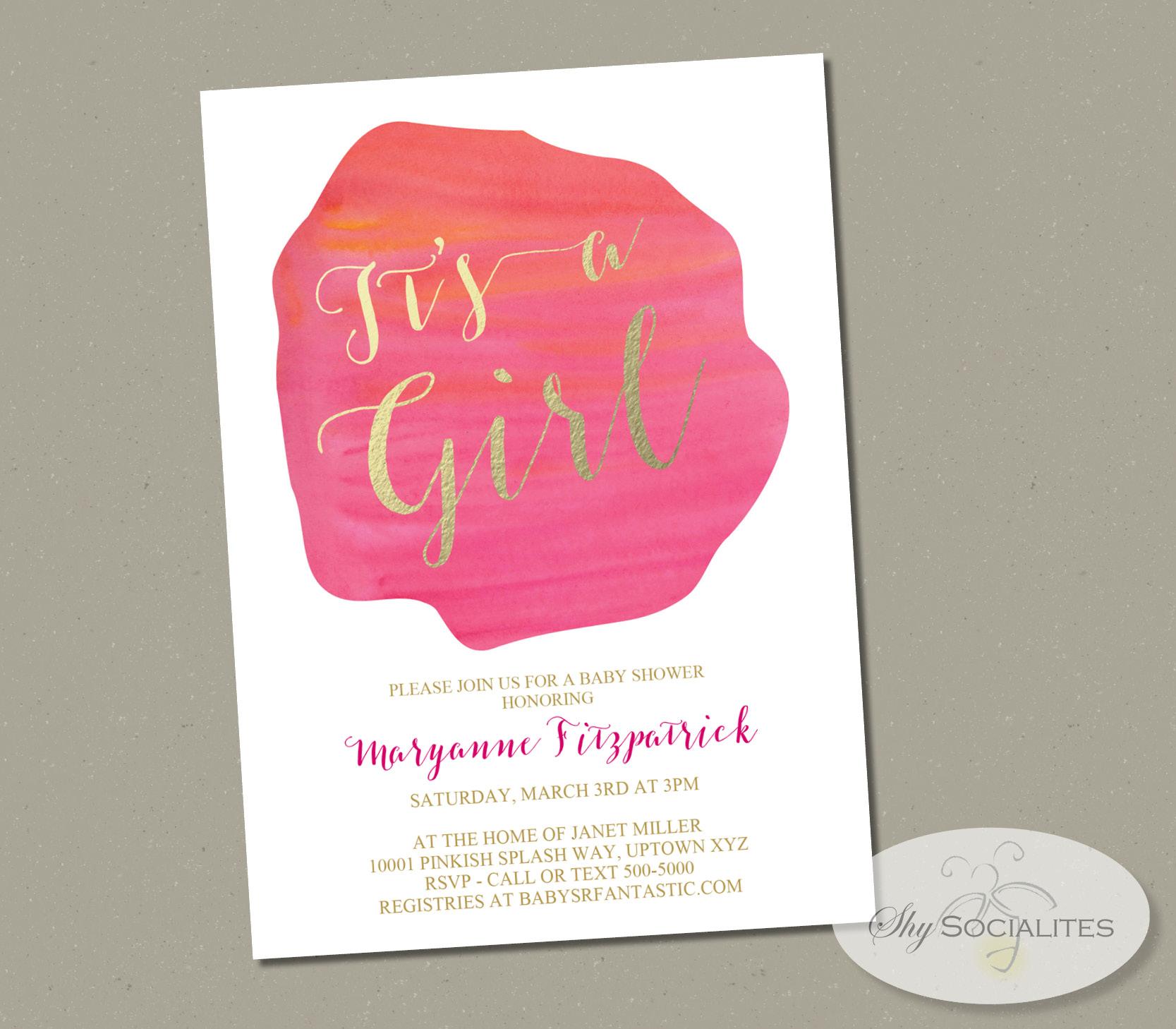 Pink & Gold Watercolor Splash It s a Girl Invitation — Shy Socialites