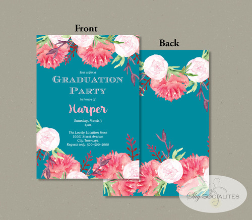 floral graduation invitation shy socialites