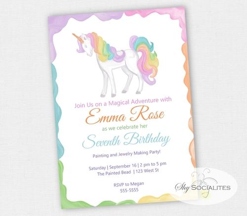 Unicorn Birthday Party Invitation Unicorn Party Watercolor