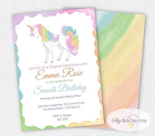 Unicorn Birthday Party Invitation Unicorn Party – Unicorn Birthday Party Invitations