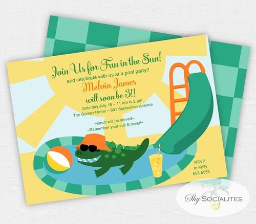 Alligator Pool Party Invitation Funny Alligator Digital