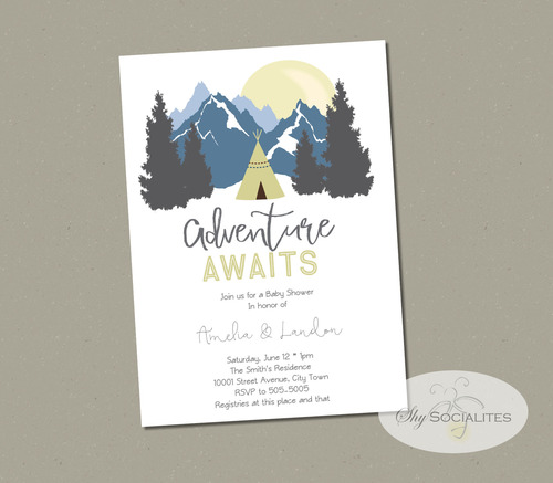 Adventure awaits mountains baby shower invitation shy socialites adventure awaits mountains baby shower invitation solutioingenieria Images