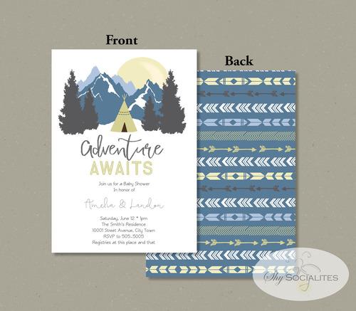 adventure awaits mountains baby shower invitation — shy socialites,