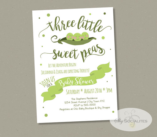 Three peas in a pod triplets baby shower invitation shy socialites three peas in a pod triplets baby shower invitation filmwisefo