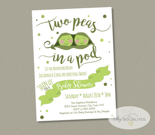 Two peas in a pod twins baby shower invitation shy socialites two peas in a pod twins baby shower invitation filmwisefo