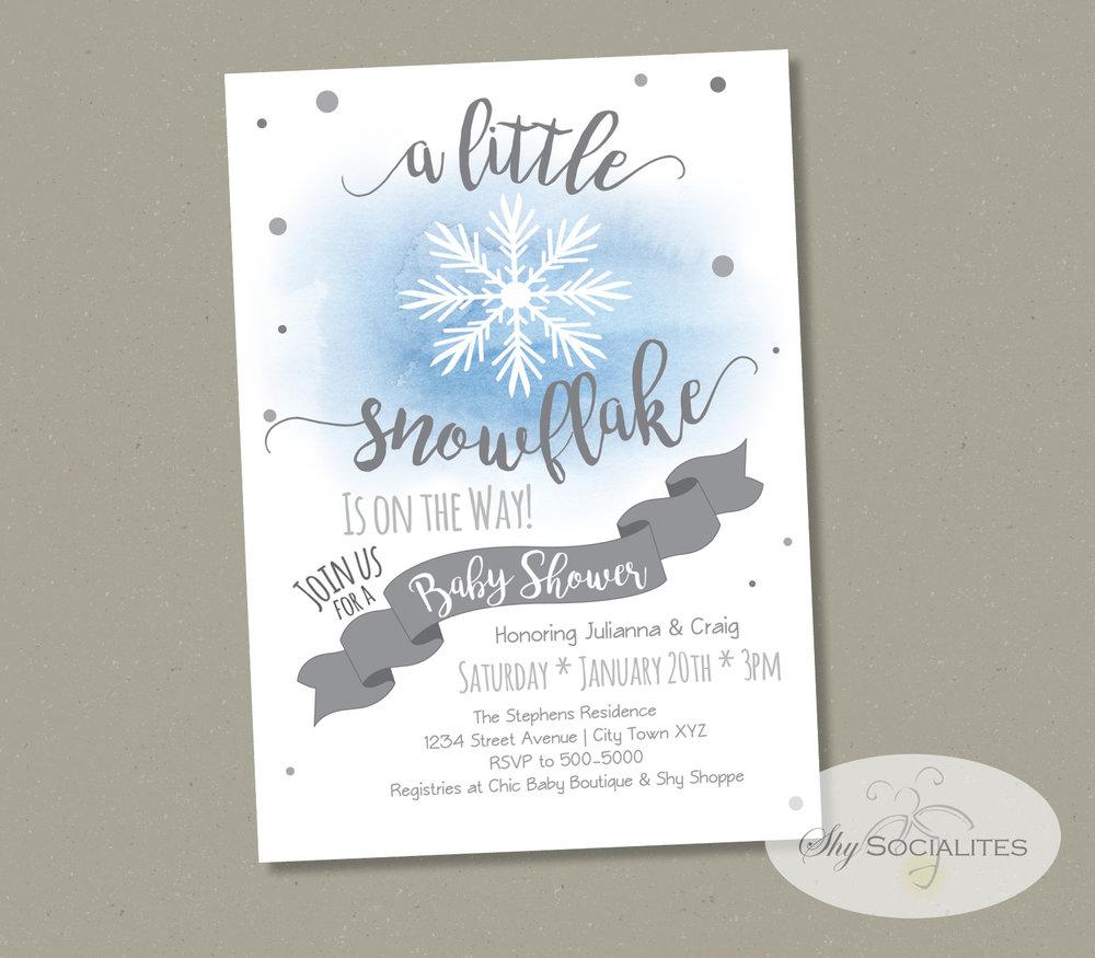 Blue Watercolor Snowflake Invitation