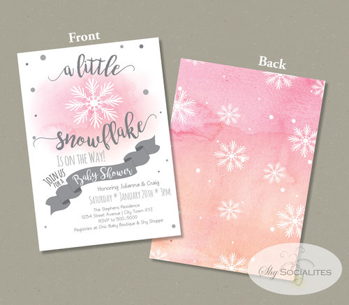 Pink Watercolor Snowflake Baby Shower Invitation Shy Socialites