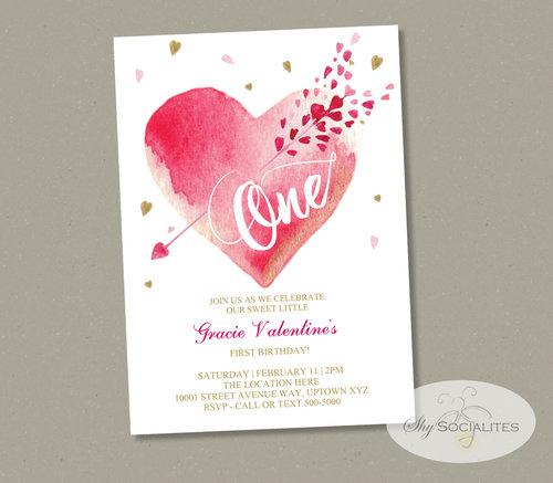 Valentine S First Birthday Invitation