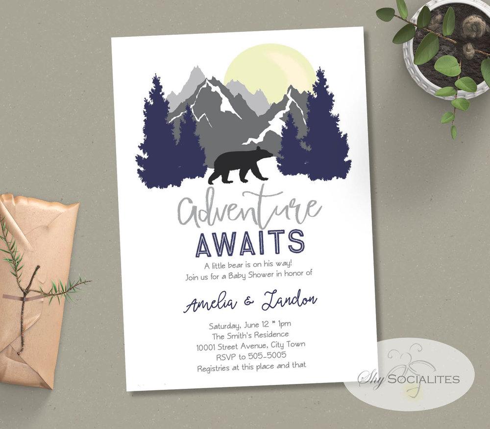 Adventure Awaits Mountain Bear Baby Shower Invitation Shy Socialites
