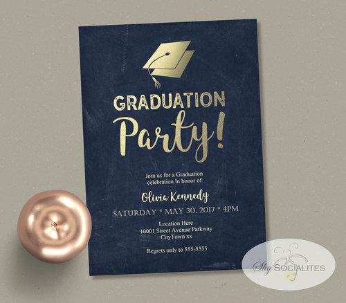 gold foil blue chalkboard graduation party invitation shy socialites