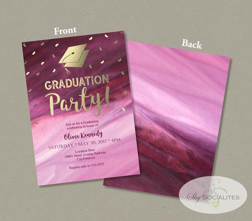 pink gold confetti graduation party invitation shy socialites